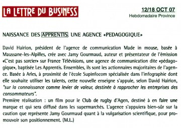Article La Lettre du Business 12 octobre 2007